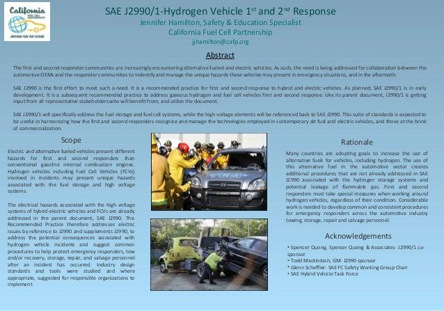 SAE J2990/1-Hydrogen Vehicle 1 and 2 Response st  nd  Jennifer Hamilton, Safety & Education Specialist California Fuel Cel...