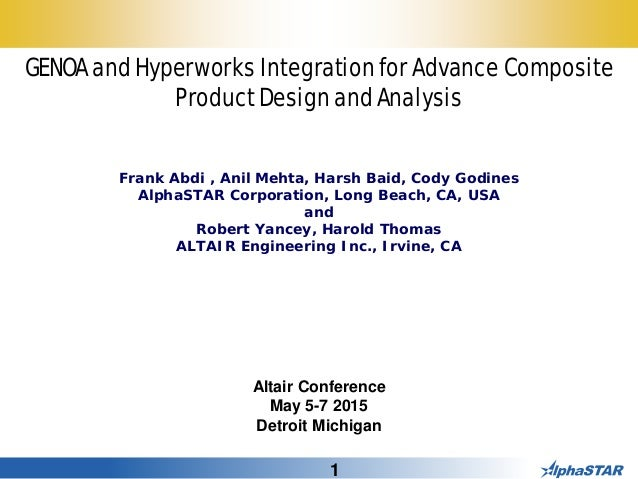 1 GENOA and Hyperworks Integration for Advance Composite Product Design and Analysis Frank Abdi , Anil Mehta, Harsh Baid, ...