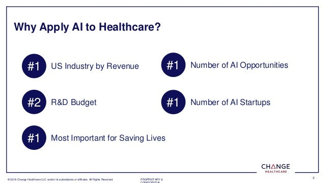 � 2018 Change Healthcare LLC and/or its subsidiaries or affiliates. All Rights Reserved. PROPRIETARY & 2 Why Apply AI to H...