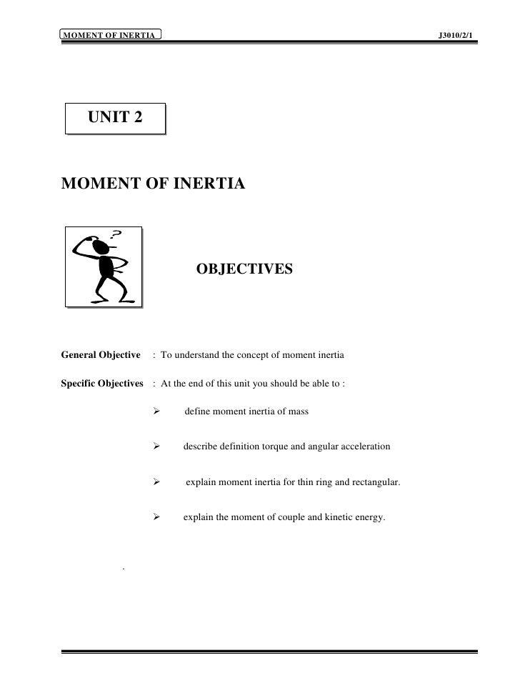 MOMENT OF INERTIA                                                                     J3010/2/1           UNIT 2   MOMENT ...