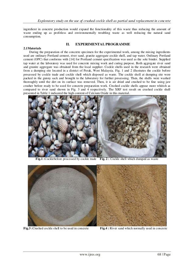 Exploratory study on the use of crushed cockle shell as partial sand replacement in concrete Slide 2