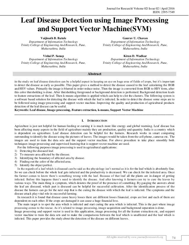 Journal for Research  Volume 02  Issue 02   April 2016 ISSN: 2395-7549 All rights reserved by www.journalforresearch.org 7...