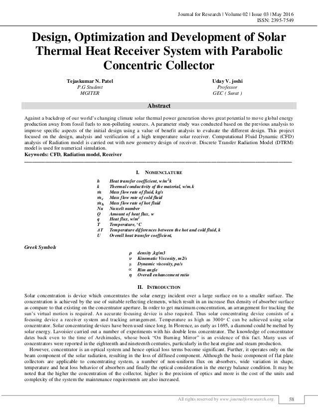 DESIGN, OPTIMIZATION AND DEVELOPMENT OF SOLAR THERMAL HEAT