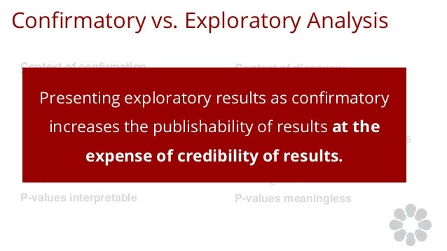 Confirmatory vs. Exploratory Analysis Context of confirmation ● Traditional hypothesis testing ● Results held to the highe...