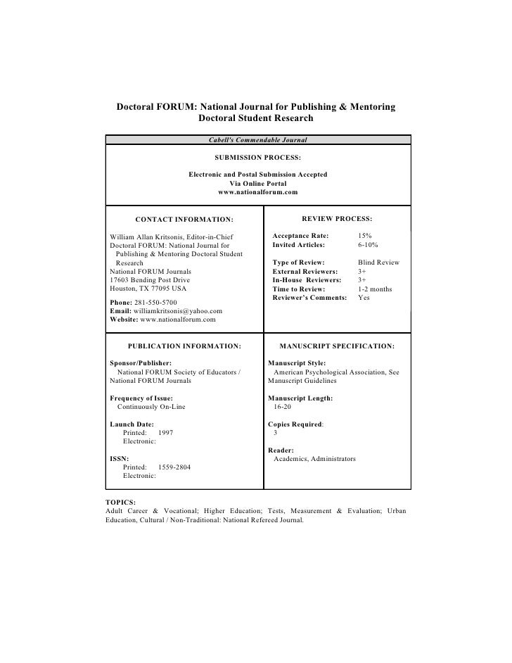 Doctoral FORUM: National Journal for Publishing & Mentoring                   Doctoral Student Research                   ...