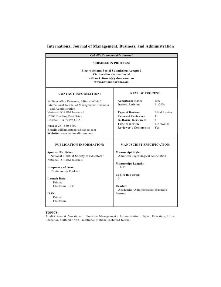 International Journal of Management, Business, and Administration                                  Cabell's Commendable Jo...