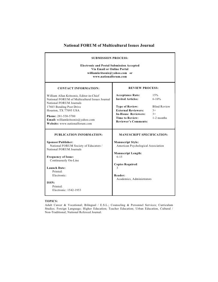 National FORUM of Multicultural Issues Journal                                   SUBMISSION PROCESS:                      ...