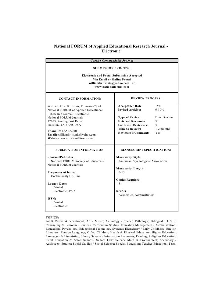 National FORUM of Applied Educational Research Journal -                            Electronic                            ...