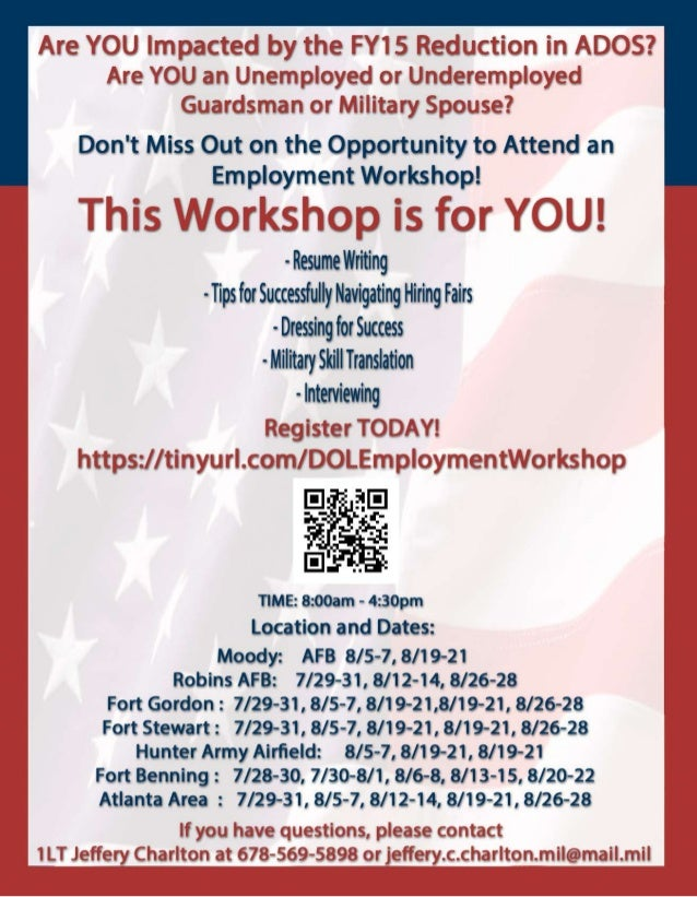 DOL Employment Workshop for GA NATL Guard Service Members & Military Spouses