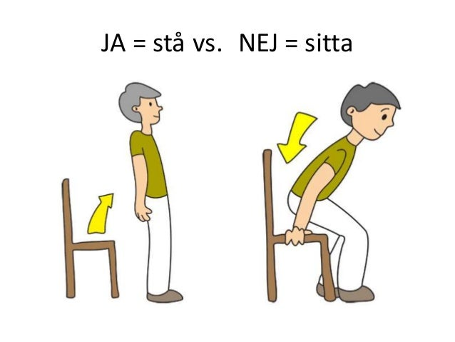 JA = stå vs. NEJ = sitta