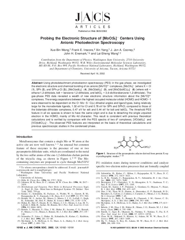 Published on Web 08/02/2002                          Probing the Electronic Structure of [MoOS4]- Centers Using           ...