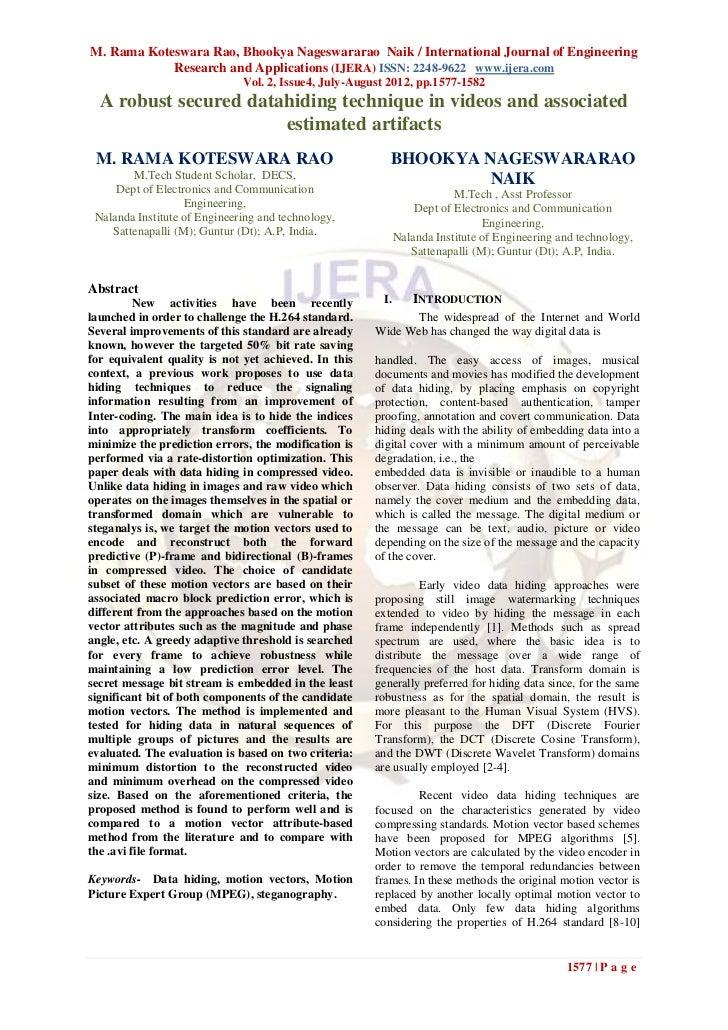 M. Rama Koteswara Rao, Bhookya Nageswararao Naik / International Journal of Engineering            Research and Applicatio...
