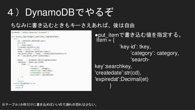 4)DynamoDBでやるぞ ちなみに書き込むときもキーさえあれば、後は自由 Item = { 'key-id': tkey, 'category': category, 'search- key':searchkey, 'createdate...