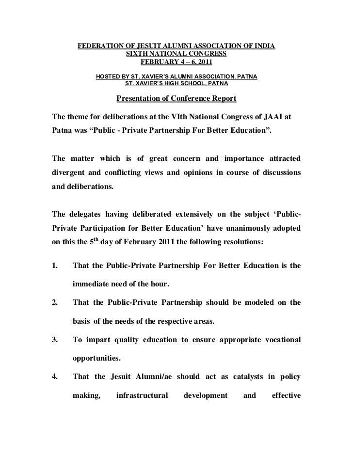 FEDERATION OF JESUIT ALUMNI ASSOCIATION OF INDIA                  SIXTH NATIONAL CONGRESS                      FEBRUARY 4 ...