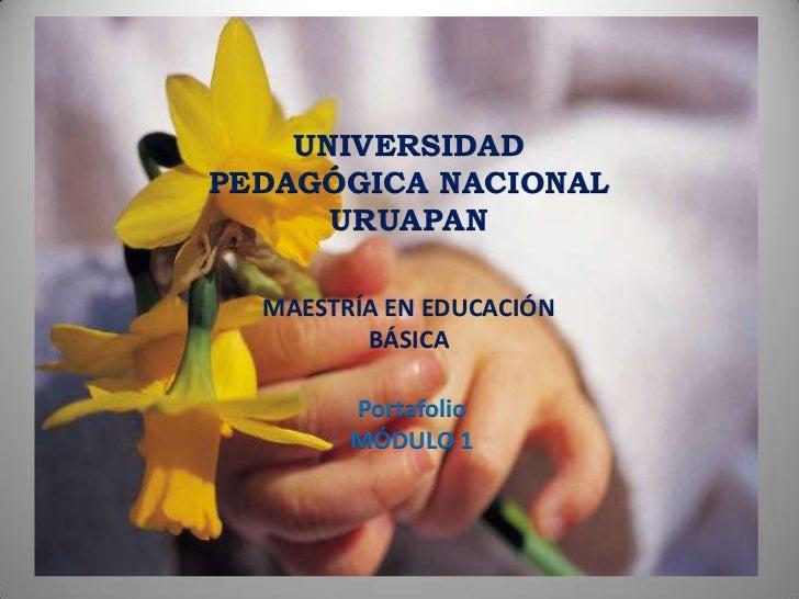 UNIVERSIDADPEDAGÓGICA NACIONAL      URUAPAN  MAESTRÍA EN EDUCACIÓN         BÁSICA        Portafolio        MÓDULO 1
