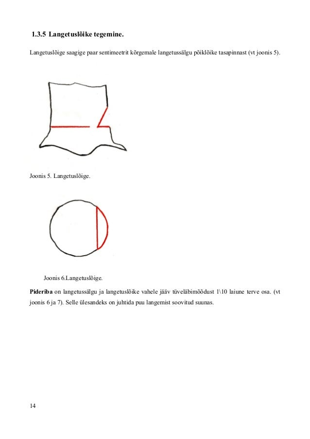 1.3.5 Langetuslõike tegemine. Langetuslõige saagige paar sentimeetrit kõrgemale langetussälgu põiklõike tasapinnast (vt jo...