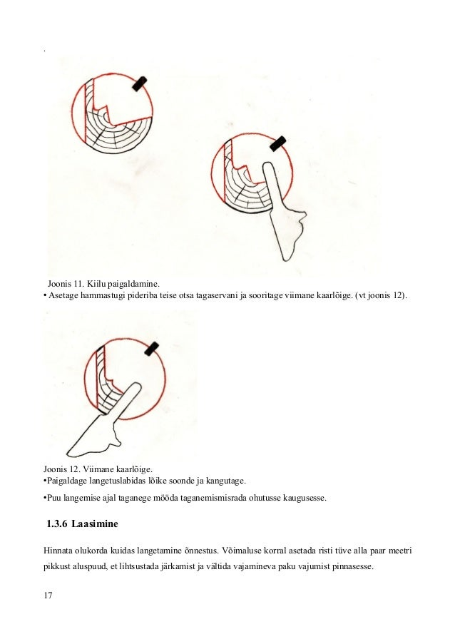 . Joonis 11. Kiilu paigaldamine. • Asetage hammastugi pideriba teise otsa tagaservani ja sooritage viimane kaarlõige. (vt ...
