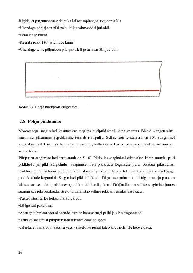 Jälgida, et pingutuse suund ühtiks lõiketasapinnaga. (vt joonis 23) •Ühendage põhjajoon piki paku külge tahmanööri juti ab...
