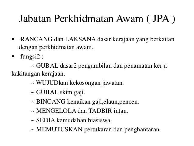 Fungsi Jabatan Perkhidmatan Awam Malaysia