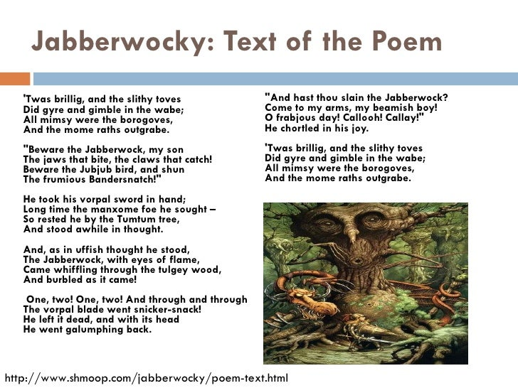 analysis jabberwocky Jabberwocky lewis carroll (from through the looking-glass and what alice found there, 1872) `twas brillig, and the slithy toves did gyre and gimble in the wabe.