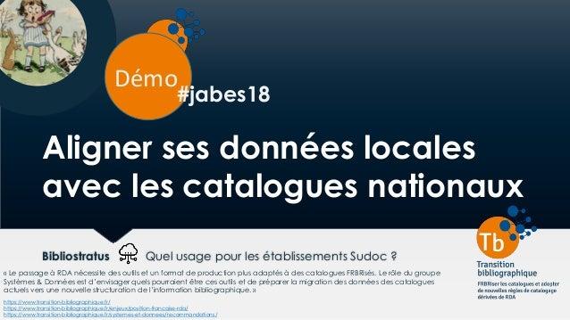 Aligner ses données locales avec les catalogues nationaux Bibliostratus Quel usage pour les établissements Sudoc ? Démo ht...