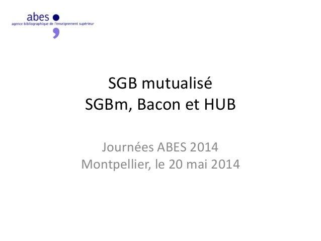 SGB mutualisé SGBm, Bacon et HUB Journées ABES 2014 Montpellier, le 20 mai 2014
