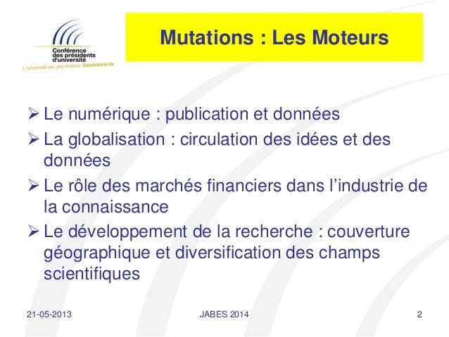 Journées ABES 2014 - 20 mai 2014 - intervention Jean-Pierre Finance  Slide 2