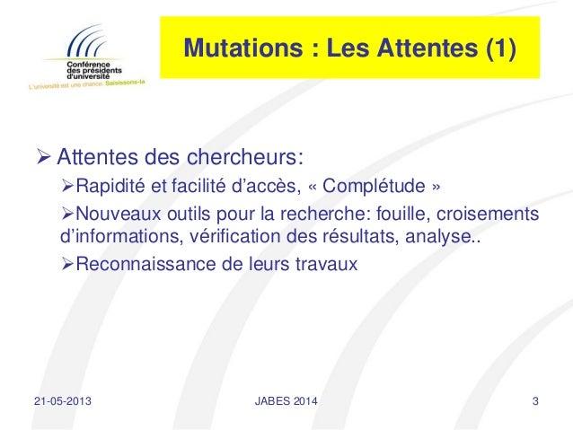 Journées ABES 2014 - 20 mai 2014 - intervention Jean-Pierre Finance  Slide 3