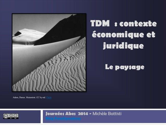 Le paysage Journées Abes 2014 - Michèle Battisti Blog Paralipomènes TDM : contexte économique et juridique Adam, Dunes. Ma...