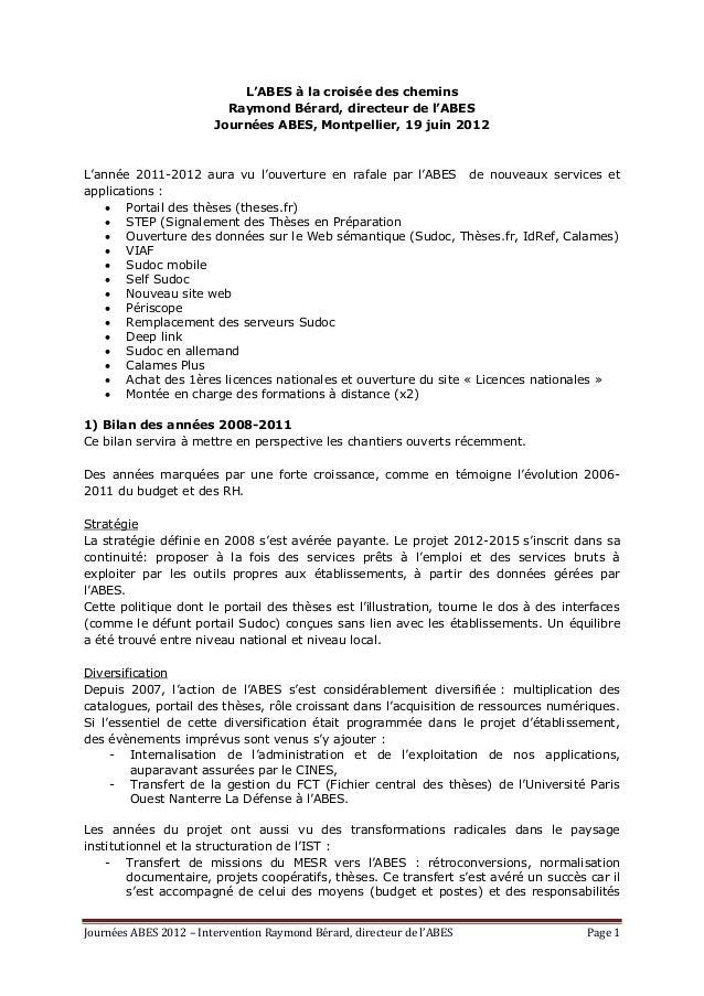 Journées ABES 2012 – Intervention Raymond Bérard, directeur de l'ABES Page 1 L'ABES à la croisée des chemins Raymond Bérar...