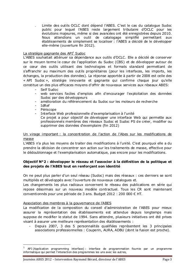 L'Abes, à la croisée des chemins, texte de l'intervention de Raymond Bérard - Journées Abes 2012 Slide 3