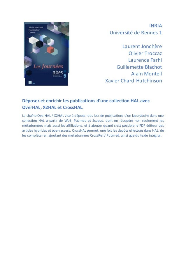 INRIA Université de Rennes 1 Laurent Jonchère Olivier Troccaz Laurence Farhi Guillemette Blachot Alain Monteil Xavier Char...