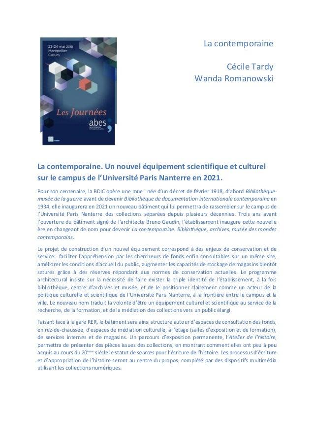 La contemporaine Cécile Tardy Wanda Romanowski La contemporaine. Un nouvel équipement scientifique et culturel sur le camp...