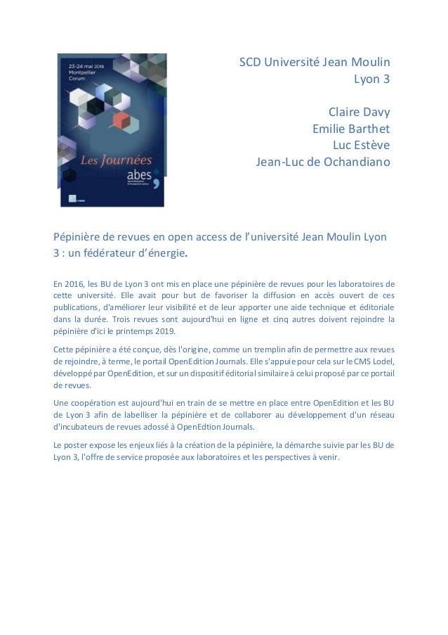 SCD Université Jean Moulin Lyon 3 Claire Davy Emilie Barthet Luc Estève Jean-Luc de Ochandiano Pépinière de revues en open...