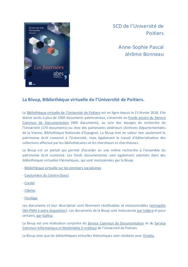 SCD de l'Université de Poitiers Anne-Sophie Pascal Jérôme Bonneau La Bivup, Bibliothèque virtuelle de l'Université de Poit...