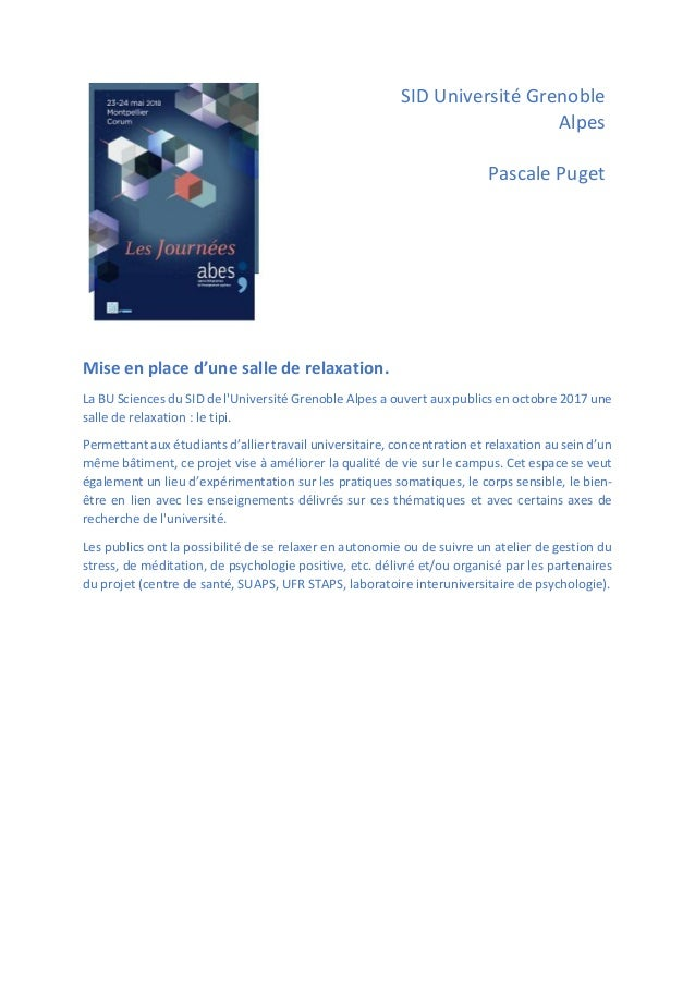 SID Université Grenoble Alpes Pascale Puget Mise en place d'une salle de relaxation. La BU Sciences du SID de l'Université...