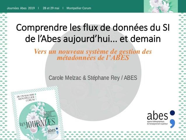 Comprendre les flux de données du SI de l'Abes aujourd'hui... et demain Carole Melzac & Stéphane Rey / ABES Vers un nouvea...