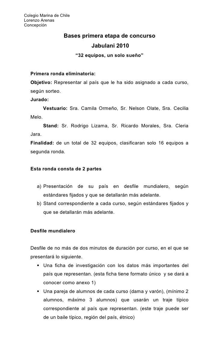Colegio Marina de Chile Lorenzo Arenas Concepción                      Bases primera etapa de concurso                    ...
