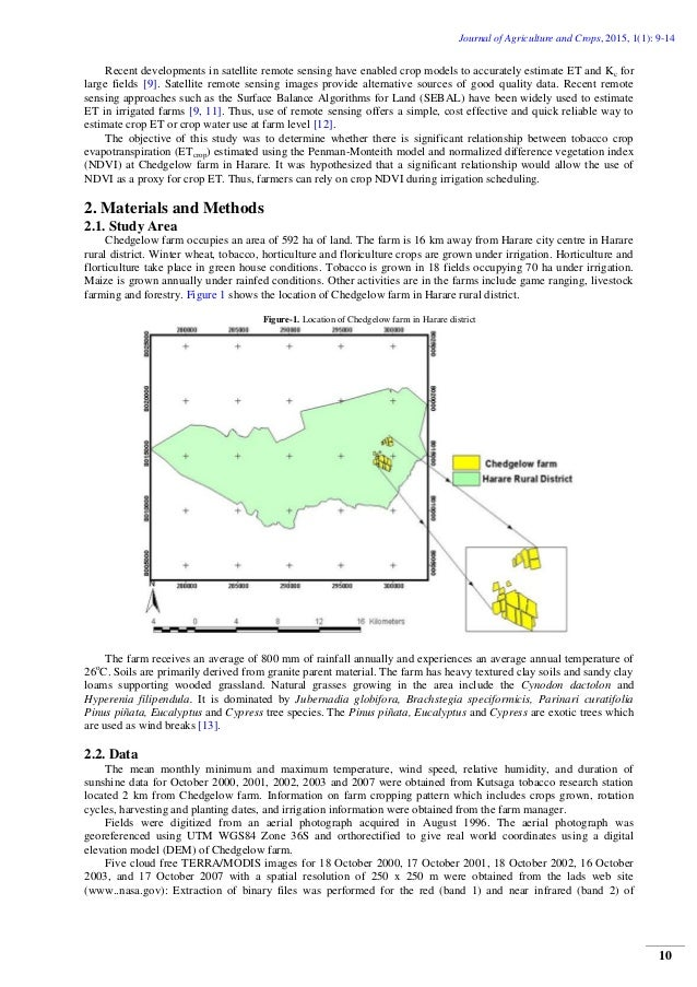 Relationship between Tobacco Crop Evapotranspiration and the Normalized Difference Vegetation Index Slide 2
