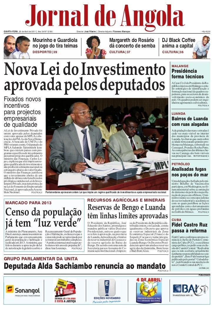 quarTa-feira, 20 de abril de 2011 | ano 34 Nº 12180                      director: José ribeiro | director-adjunto: filome...