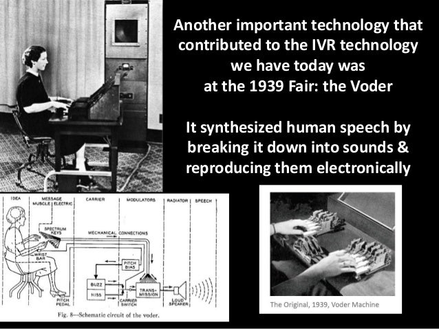 Another important technology that contributed to the IVR technology we have today was at the 1939 Fair: the Voder  It synt...