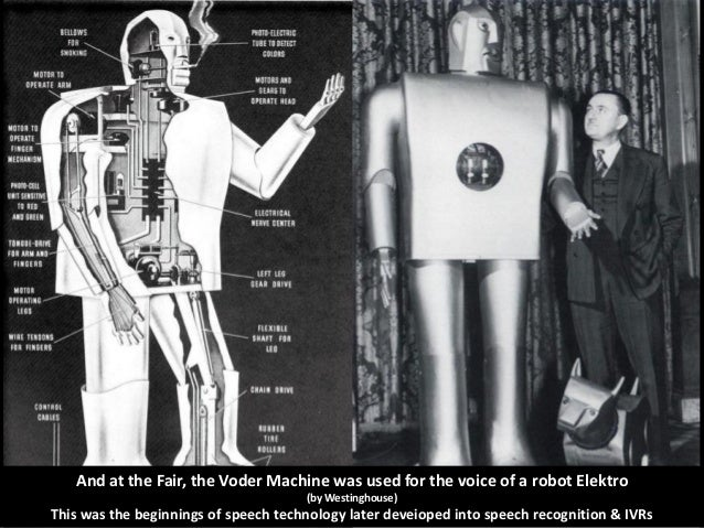And at the Fair, the Voder Machine was used for the voice of a robot Elektro (by Westinghouse)  This was the beginnings of...