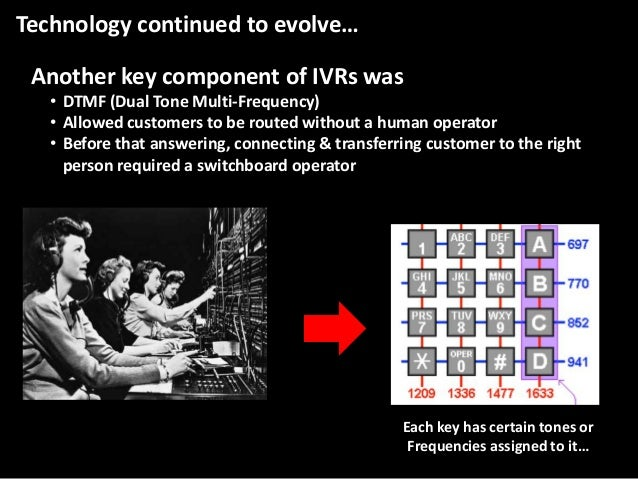 Technology continued to evolve…  Another key component of IVRs was • DTMF (Dual Tone Multi-Frequency) • Allowed customers ...
