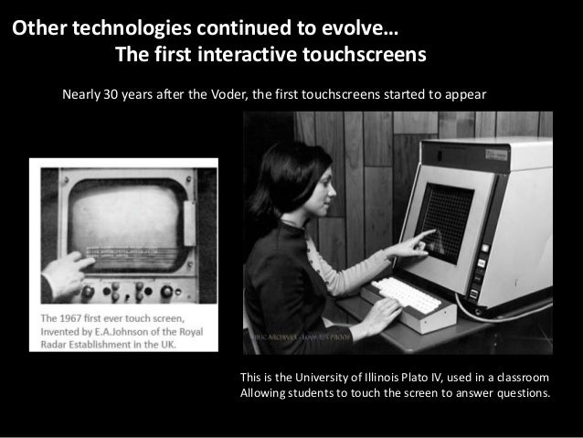 Other technologies continued to evolve… The first interactive touchscreens Nearly 30 years after the Voder, the first touc...