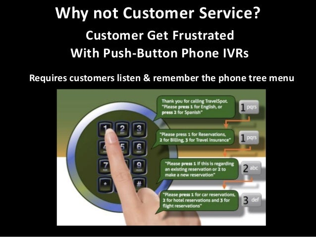 Why not Customer Service? Customer Get Frustrated With Push-Button Phone IVRs Requires customers listen & remember the pho...
