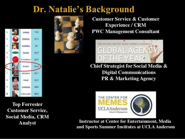 Dr. Natalie's Background Analyst Rankings:  Customer Service & Customer Experience / CRM PWC Management Consultant  Chief ...