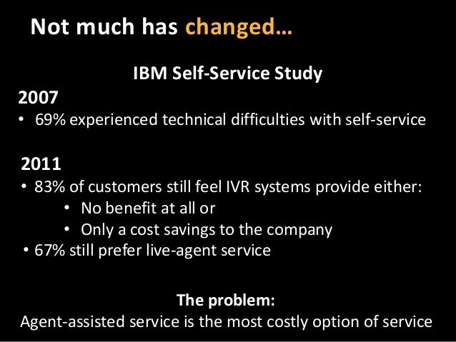 Not much has changed… IBM Self-Service Study 2007 • 69% experienced technical difficulties with self-service  2011 • 83% o...