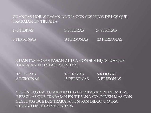 DE LOS PADRES QUE TRABAJAN EN TIJUANA ¿COMEN JUNTOS TODA LA FAMILIA AUNQUE SEA UNA VEZ AL DIA? RESPUESTAS: NO SI EL DESAYU...