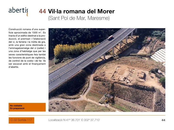 44 Vil·la romana del Morer                                          (Sant Pol de Mar, Maresme) Construcció romana d'una su...