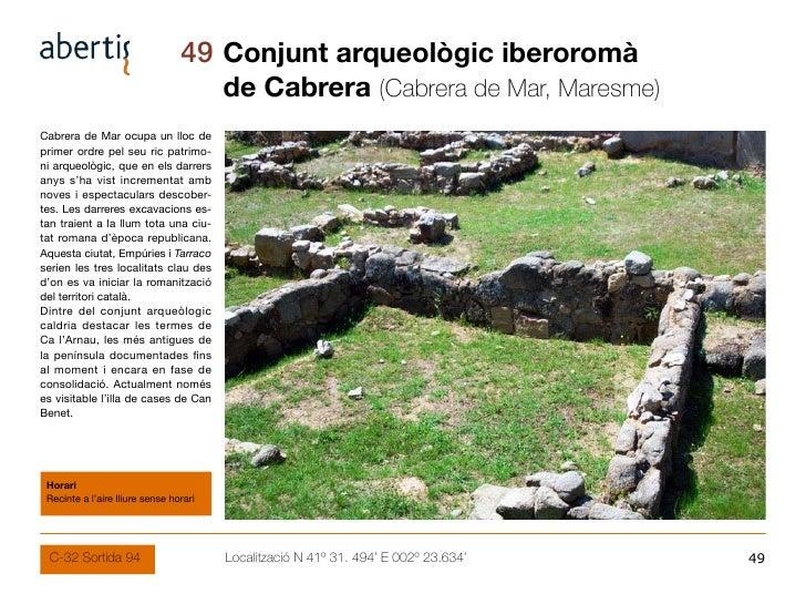 49 Conjunt arqueològic iberoromà                                         de Cabrera (Cabrera de Mar, Maresme) Cabrera de M...